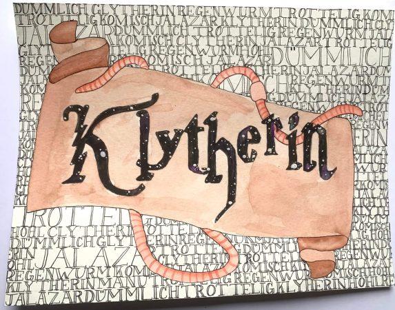 """Von Julia: Klytherin Banner (""""Manu"""" und """"Michel"""" sind im Text versteckt!)"""